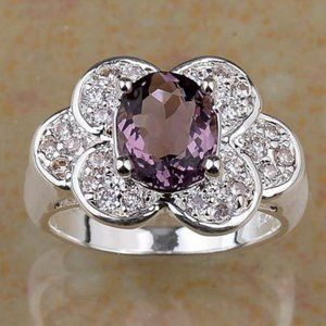NWOT .925 Natural Amethyst and White Topaz Ring